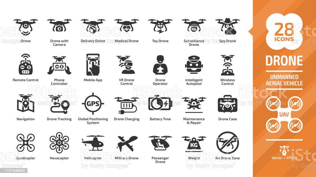 UAV のデジタル技術、空のカメラ、軍隊および配達航空機のロボット、ヘリコプター、リモート・コントロールのシルエット記号が付いているドローンの無人の空気車のグリフのアイコンセッ - おもちゃのロイヤリティフリーベクトルアート