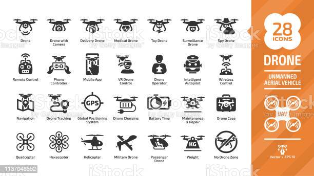 Drone unmanned aerial vehicle glyph icon set with uav digital sky vector id1137046552?b=1&k=6&m=1137046552&s=612x612&h=64vdfkzg3kp oi9ngq4x4a7txy043cyow8vetnfhyw0=
