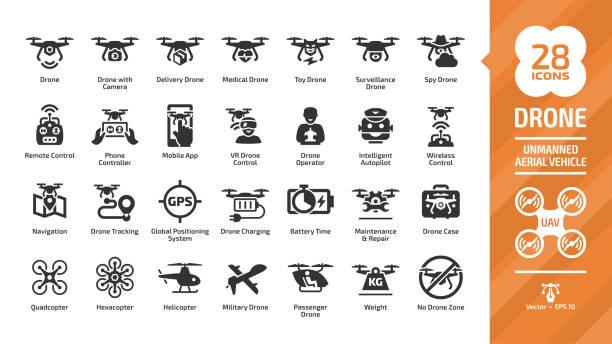 무인 항공기 디지털 기술, 하늘 카메라, 군사 및 배달 항공기 로봇, 헬리콥터, 원격 제어 실루엣 기호를 사용 하 여 설정 무인 공중 차량 글리프 아이콘. - 무인 항공기 stock illustrations