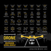Drone unmanned aerial vehicle outline icon set on a black background with flat yellow UAV mockup, city skyline and symbols collection: camera, military and delivery robots editable stroke signs.