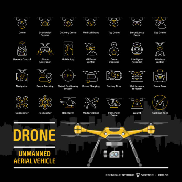 フラットイエローuavモックアップ、都市のスカイラインとシンボルコレクションと黒の背景に設定ドローン無人航空機のアウトラインアイコン:カメラ、軍事および配達ロボット編集可能なス - リモート点のイラスト素材/クリップアート素材/マンガ素材/アイコン素材