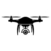 Drone and quadrocopter icon isolated on white background.