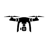 Drone with camera (vector).UAV drone copter. Photo and video drone icon (vector).drone copter flying with digital camera.Unmanned Aerial Vehicle with high resolution digital camera.