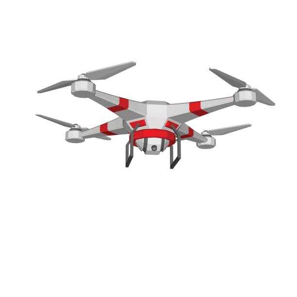 ilustrações de stock, clip art, desenhos animados e ícones de drone with camera, uav. isolated on white background. vector illustration. - drone