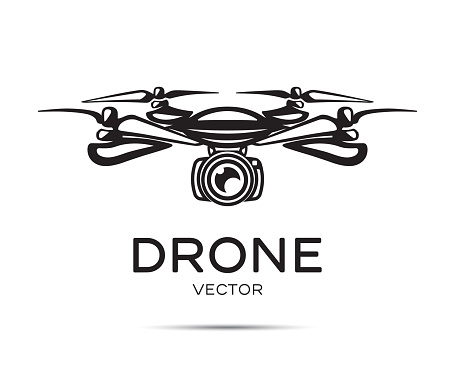 Drone with camera vector silhouette isolated