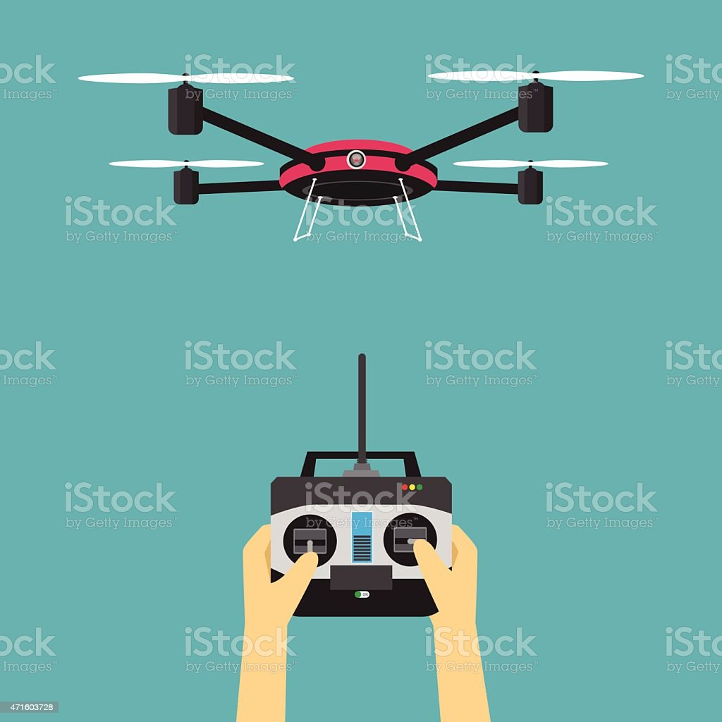 Drone with remote control vector art illustration