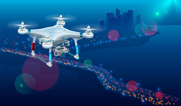 ilustrações de stock, clip art, desenhos animados e ícones de drone with video camera in the air over city roadway. unmanned aircraft system or uav monitoring street traffic or photography urban landscape in the night . - drone