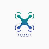 Drone X Letter icon Design Template