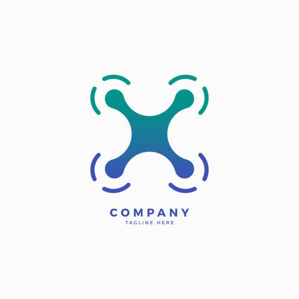 ilustrações de stock, clip art, desenhos animados e ícones de drone x letter icon design template - drone