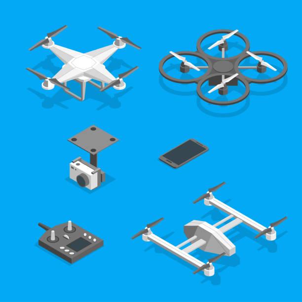 ilustrações de stock, clip art, desenhos animados e ícones de drones and equipment technology control set isometric view. vector - drone