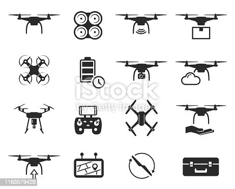 Drones black icon set, helicopter technology and aircraft. Vector flat style cartoon illustration isolated on white background