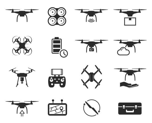 ilustrações de stock, clip art, desenhos animados e ícones de drones black icon set, helicopter technology and aircraft - drone