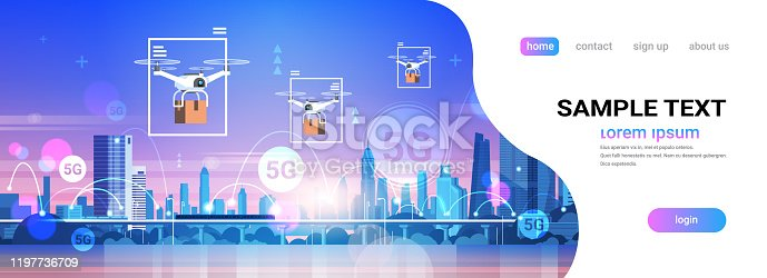drones flying over city 5G online communication network wireless systems connection express delivery concept fifth innovative generation of internet cityscape background horizontal copy space vector illustration
