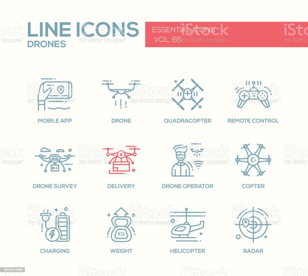 Drones - line design icons set vector art illustration