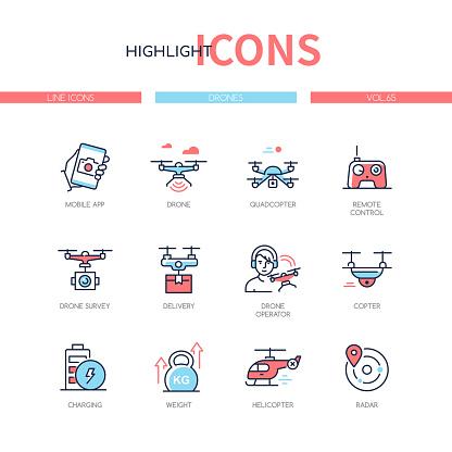 Drones - modern line design style icons set