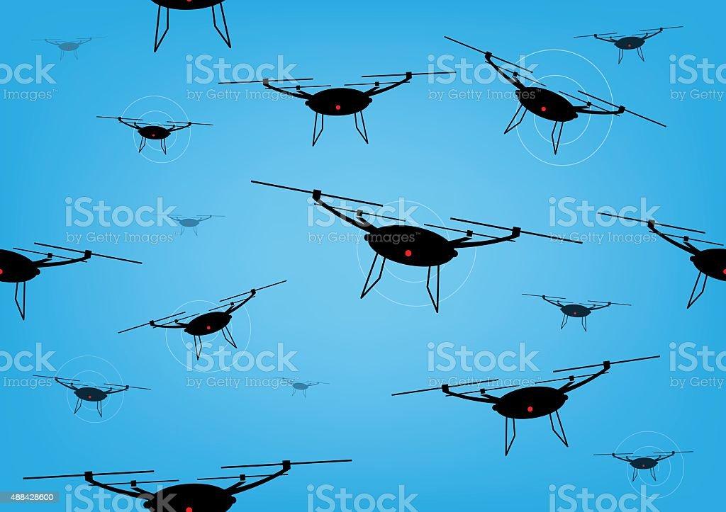 Drones seemless background vector art illustration