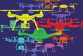 Colourful overlapping silhouettes of drones. EPS10 file, best in RGB, CS5 versions in zip