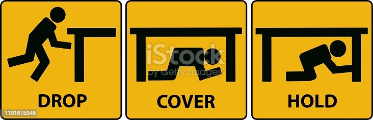istock Drop, cover, hold sign. Earthquake vector icon. 1191675348