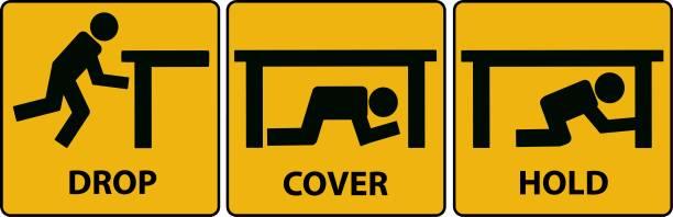 ilustrações de stock, clip art, desenhos animados e ícones de drop, cover, hold sign. earthquake vector icon. - segurar