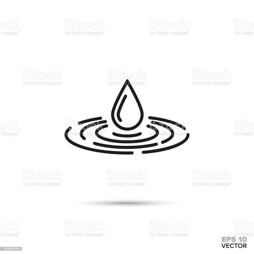 Drop falling in water vector icon. vector art illustration