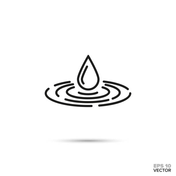 Drop falling in water vector icon. Drop falling in water vector line icon. Zen, harmony and purity symbol. rippled stock illustrations