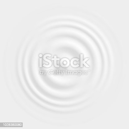 Drop falling on milk, cream dairy product, lotion or paint, creating round ripples with a swirl. Top view. Vector illustration