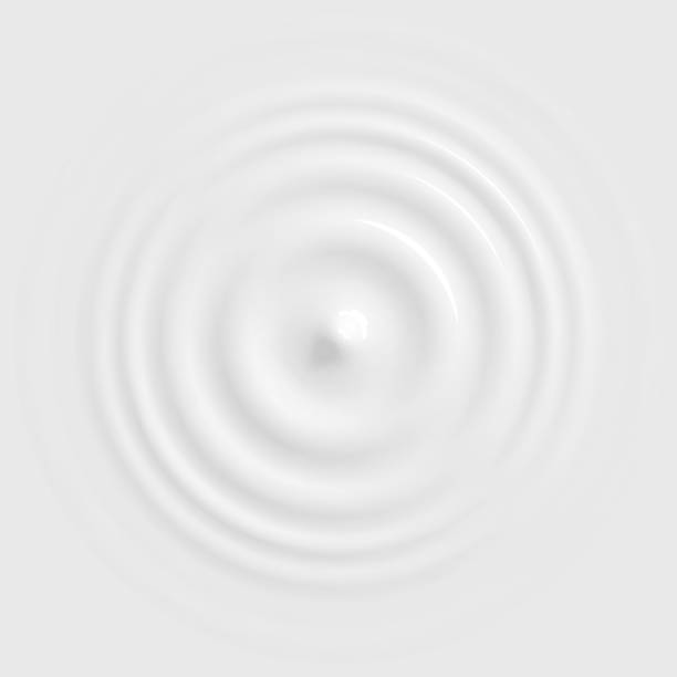 Drop falling into milk, lotion or paint top view Drop falling on milk, cream dairy product, lotion or paint, creating round ripples with a swirl. Top view. Vector illustration rippled stock illustrations