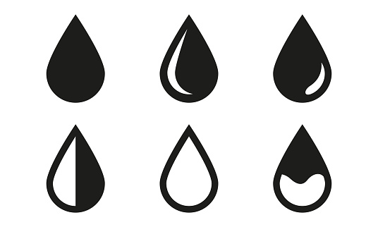 Drop icons set isolated on white background. Black water drop symbols. Vector illustration.