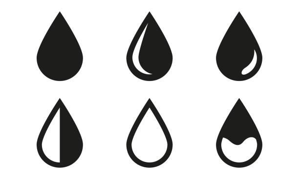 드롭 아이콘 설정 흰색 배경에 고립. 블랙 워터 드롭 기호입니다. 벡터 일러스트입니다. - 물 stock illustrations