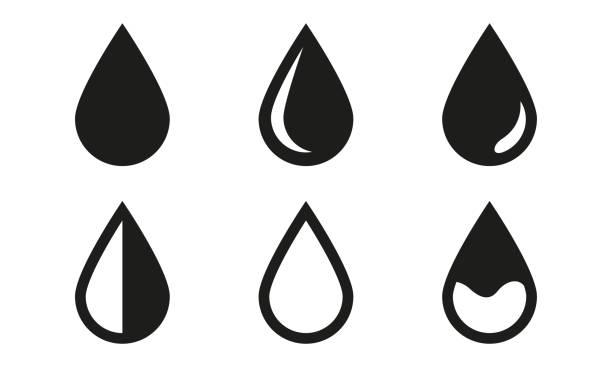 stockillustraties, clipart, cartoons en iconen met drop icons set geïsoleerd op witte achtergrond. black waterdrop symbolen. vector illustratie. - druppel