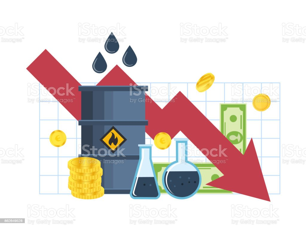 Drop In Incomes Profits Fall In Cost Of Oil Stock Vector Art More