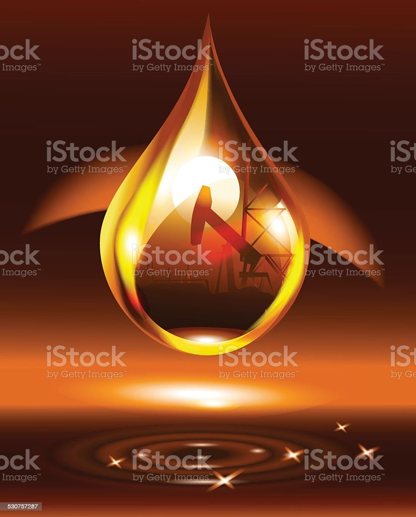 drop of oil on a brown background vector art illustration
