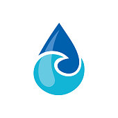 Vector illustration of the water drop symbol. Can be used as logo for environmental conservation, hydro therapeutic, pure water business, spa center or seafood.