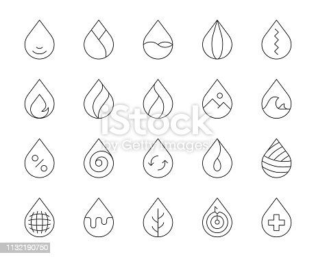 Drop Shape Thin Line Icons Vector EPS File.