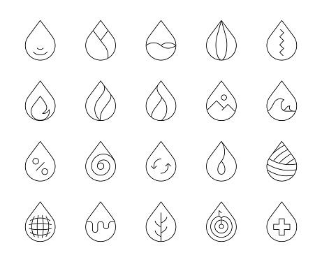Drop Shape - Thin Line Icons