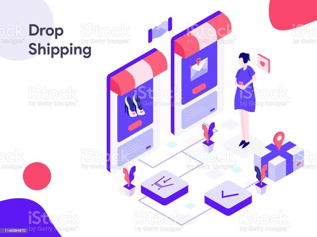 Drop Shipping Isometric Illustration Modern Flat Design
