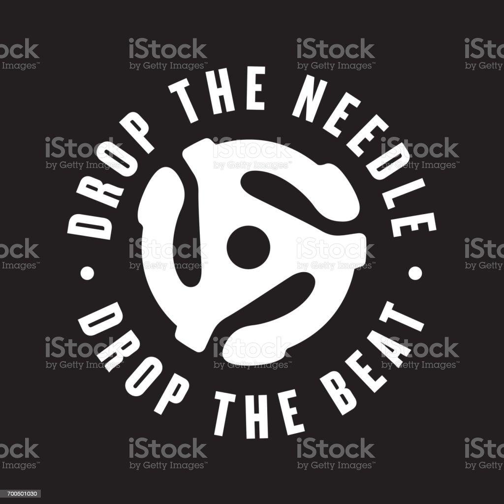 Drop the needle, drop the beat vinyl record emblem vector art illustration