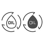 Drop with arrows line and solid icon. Chemical droplet and arrow, oil and gas logo. Fuel industry vector design concept, outline style pictogram on white background