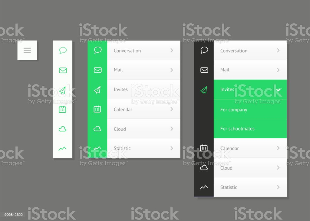Dropdown menu. Website element. vector art illustration