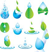 A set of 10 natural water graphic elements. Everything is grouped individually for ease of edibility.