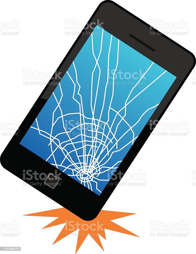 Dropped Smart Phone vector art illustration