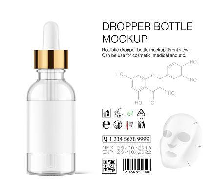 Dropper bottle mockup isolated on white background.