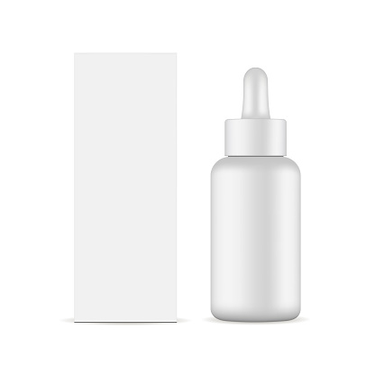 Dropper bottle with packaging box mockup isolated
