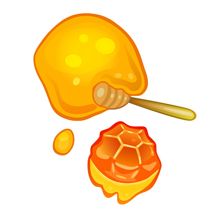 Dropping Honey From Honeycomb Cute Vector Illustration