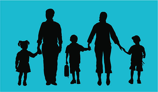 Dropping kids off at School ( Vector ) Parents taking kids to school. Silhouette. svg stock illustrations