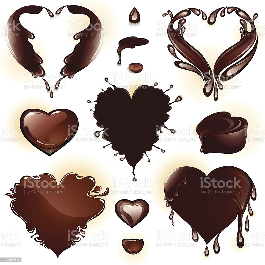 Drops and splashes in the shape of a heart. royalty-free stock vector art
