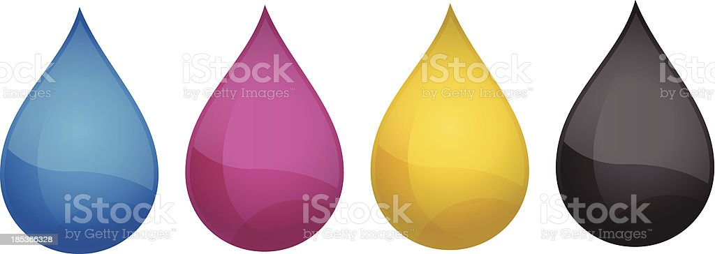Drops CMYK royalty-free drops cmyk stock vector art & more images of black color