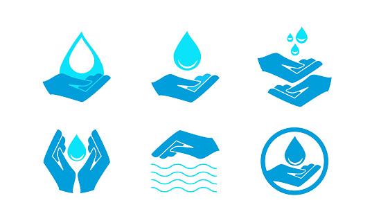 drops of water in human hands
