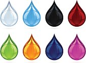 Vector illustration of 8 colored drops.