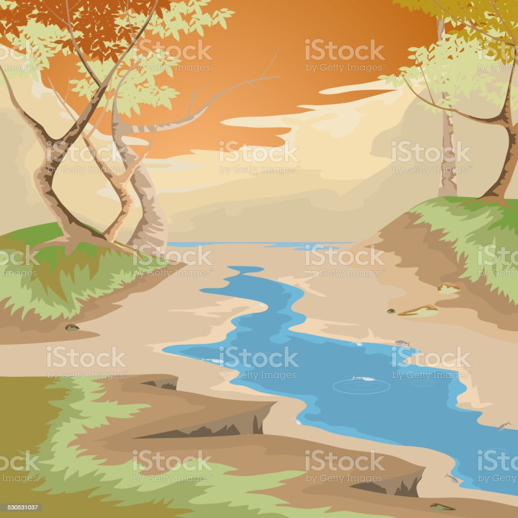 Drought and forest vector art illustration